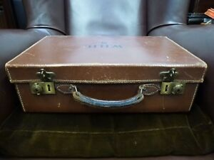 vintage-old-Genuine-Pig-Skin-leather-Suitcase-Luggage-with-Brass-clasps