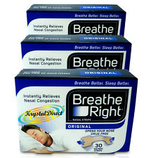 3x Breathe Right Nasal Strips 30 Tan Original Strips Small/Medium