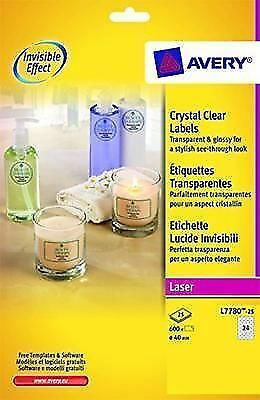avery l7780 25 crystal clear round labels for laser printers 40 mm