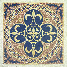 Fleur De Lys Pattern Circle Rounded Rope Home  Marble Mosaic GEO1170