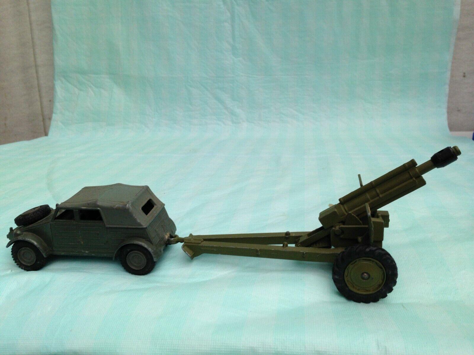 Vintage Dinky Military Volkswagen KDF & No 617 Anti Tank 50mm Gun