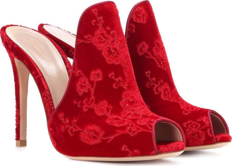 NIB Gianvito Rossi Shanghai Red Velvet Open Sandal Mule Heel Bootie Pump 37.5