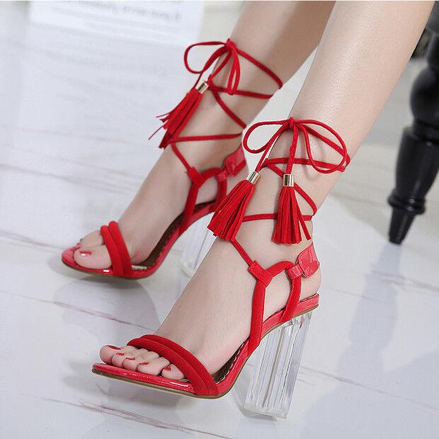 Sandalias Elegantes Talón Cuadrado 9.5cm Rojo Cordones Piel Sintético 9705