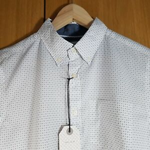 Next-mens-shirt-Size-M-laundered-white-with-blue-cross-pattern-short-sleeved
