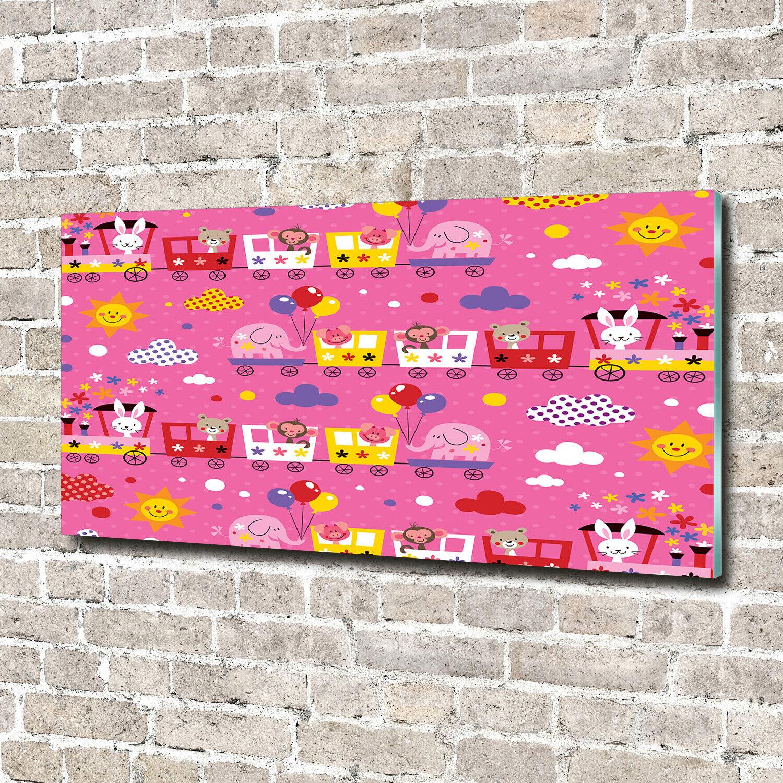 Acrylglas-Bild Wandbilder Druck 140x70 Deko Kinderzimmer Tiere im Zug