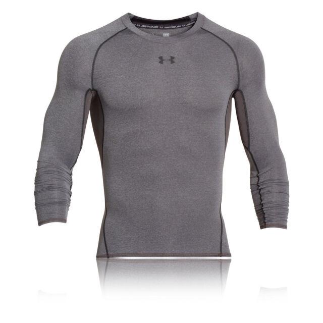 Under Armour HeatGear Mens Grey Long Sleeve Sports Compression Running Top