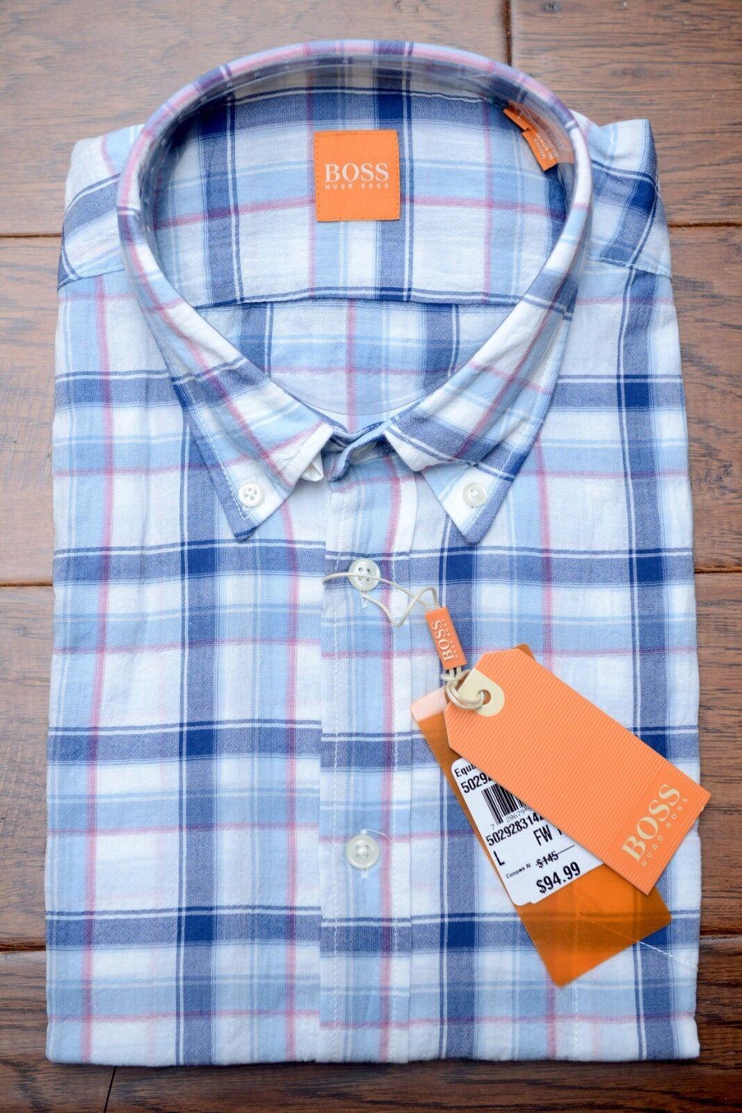 Hugo Boss Men's EquatorE bluee Plaids Lightweight Cotton Casual Shirt NEW L