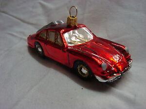 Weihnachtsschmuck-roter-034-Sportwagen-034-Auto-Oldtimer-Glaskugel-Dekoration
