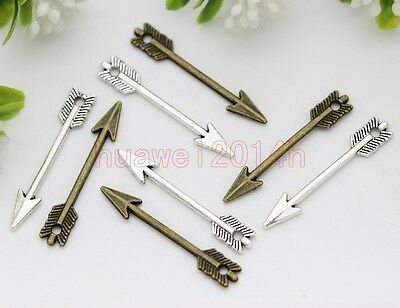 30pcs Antique Silver/Bronze Lovely Mini two-sided Arrow Charms Pendant 30x5mm