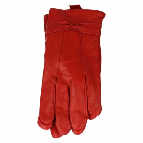 Ladies leather Gloves Best Women Leather fleece Lined Gloves with New Bow Design