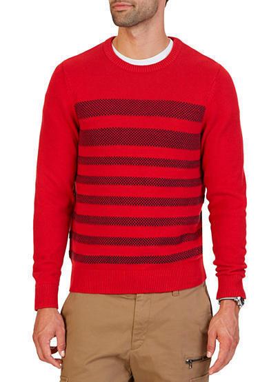 NAUTICA MEN/'S BRETON STRIPE PULLOVER SWEATER RED GRAY NAVY L XL XXL NEW $89.50