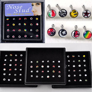 Wholesale-body-Jewelry-24X-Cute-Mixed-Face-Color-Nose-Ring-Piercing-Nose-Studs