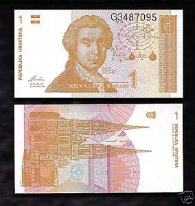 World Paper Money Croatia 1 Dinar 1991 @ Crisp UNC