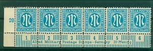 Germany Allied Military Post 1945 20pf blue sgA26 bottom marginal strip  Stamps