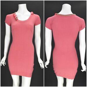 Womens-Elisabetta-Franchi-Bodycon-Mini-Dress-Pink-Party-Viscose-Size-IT40-UK8