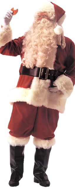 Santa Suit Deluxe Velvet Adult Professional Costume Christmas Red Plush