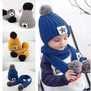 Kinder Baby Winter Beanie Mützen Cap StrickMütze Wintermütze Warm Schal