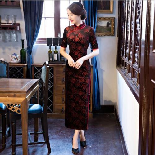 New black//gold Chinese women/'s  velvet evening long Dress//Cheong-sam 6-14