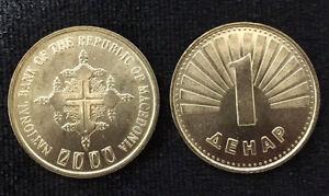 MACEDONIA-1-DINAR-2000-CHRISTIAN-CROSS-COIN-UNC