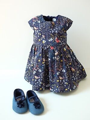 2-Set Festliches Kleid blau mit Blumen Gr. 68 + Schuhe Gr ...