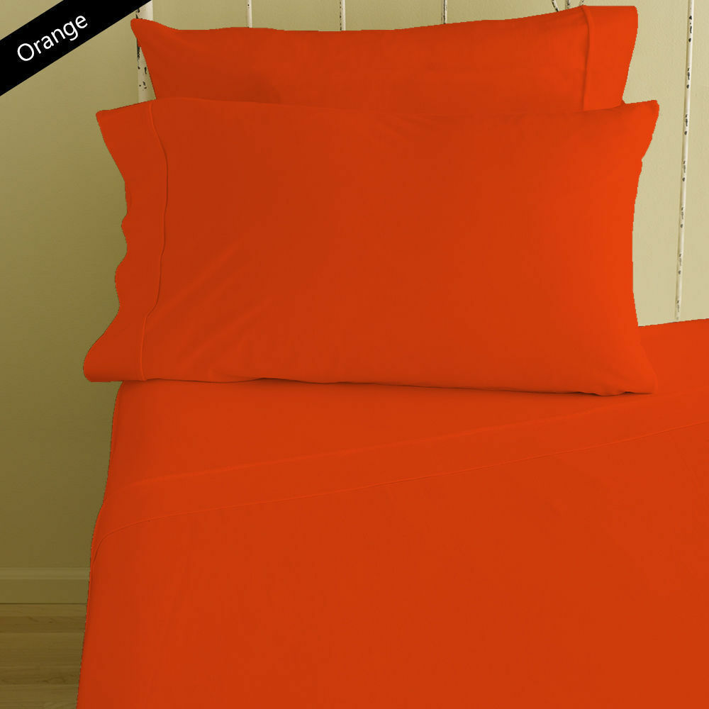 Egyptian Cotton 1000 Thread Count Deep Pkt 6 PC Sheet Set All Size orange Solid