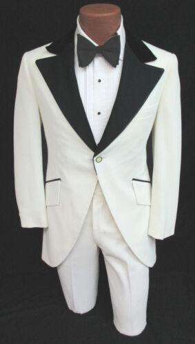 Vintage White Tuxedo Jacket /& Pants Cutaway Morning Coat 1970/'s Disco Prom