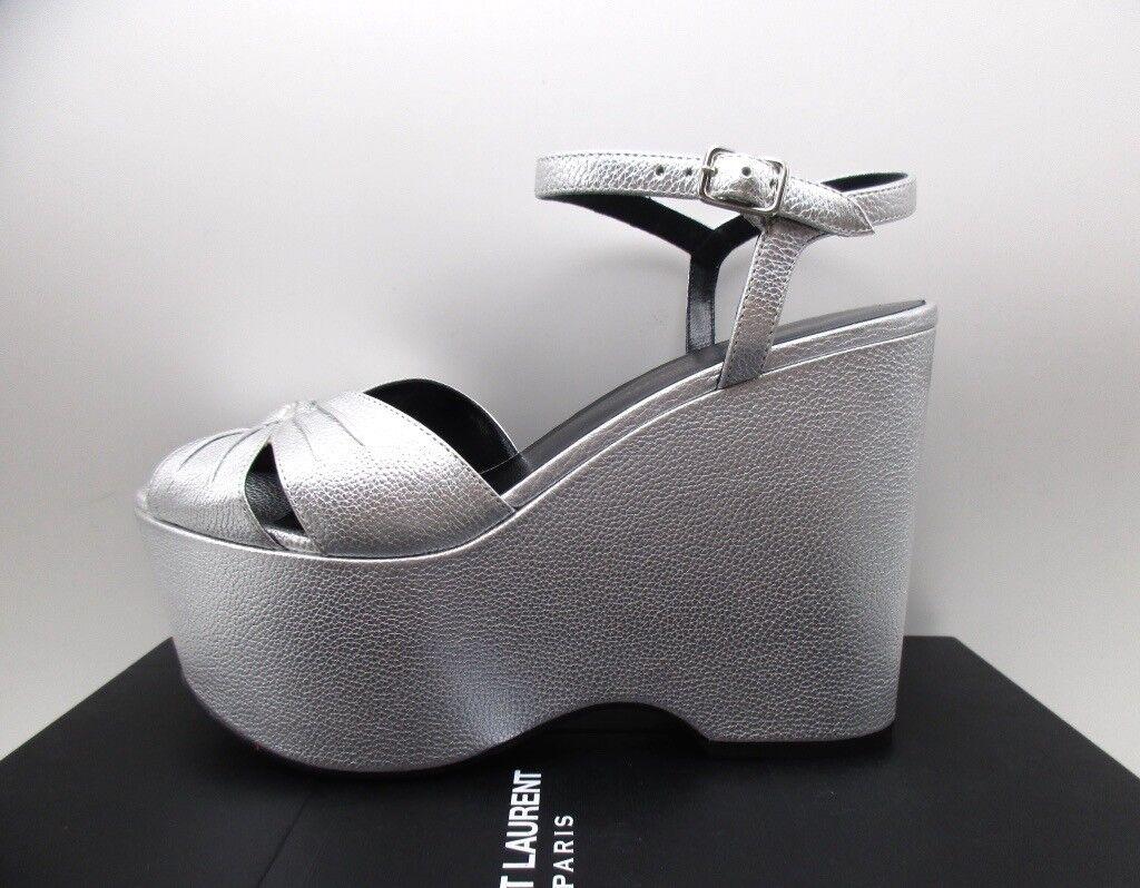 Saint Laurent YSL Candy 55 Cross Platform Sandals Argento Argento Sandals Silver 39 9 d94fbc