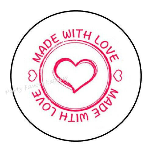"""48 MADE WITH LOVE ENVELOPE SEALS LABELS STICKERS 1.2/"""" ROUND"""