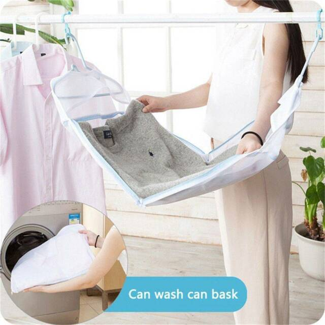 Anti-Wind Folding Drying Rack Hanging Clothes Laundry Sweater Basket Dryer Net