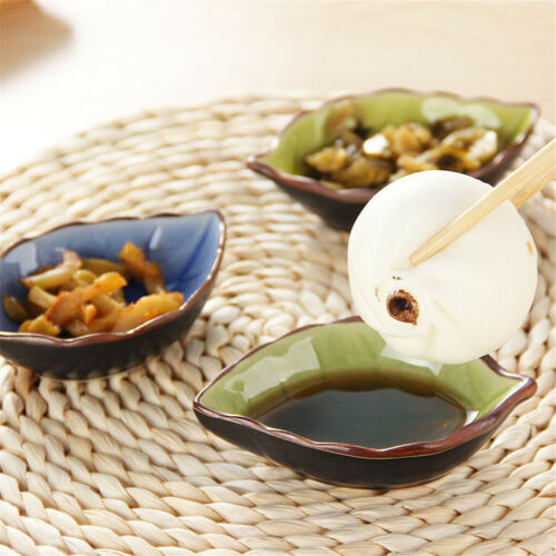 Details about  /Beautiful Leaves Plates Sushi Dishes Snacks Vinegar Seasoning Sauce Plate *ss