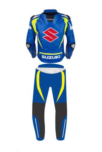 58 SUZUKI BIKER PELLE TUTA MotoGP Uomo Corsa Moto Giacche di pelle pantaloni eu48