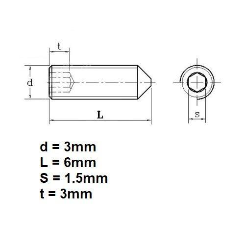 Stainless Steel M3 x 6mm Cone Point Grub Screw Door Handle Grub Screws