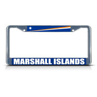 Marshall Islands Flag Metal License Plate Frame Tag Border Two Holes