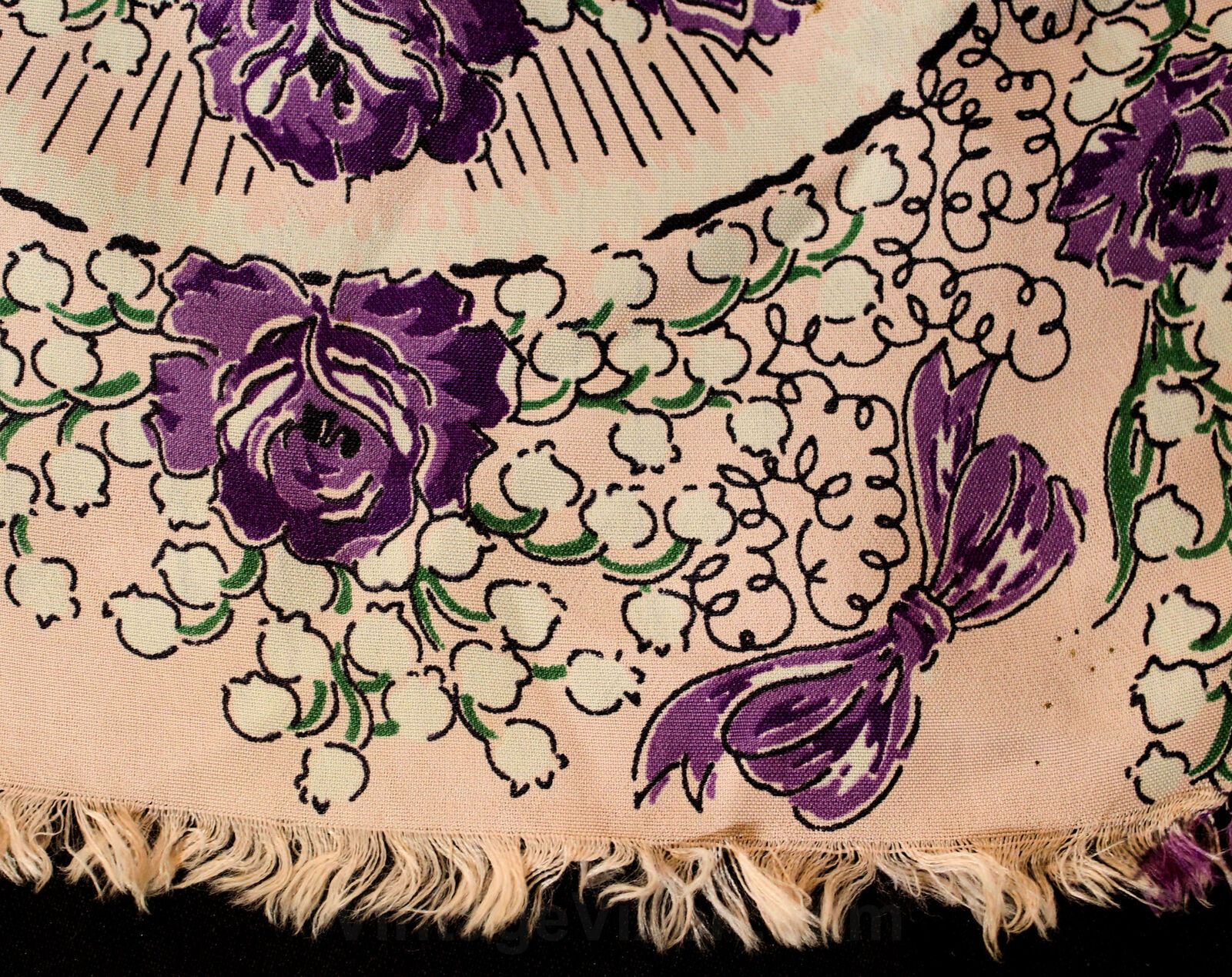 1940s Easter Bonnet Rayon Scarf - Purple & Pink R… - image 8