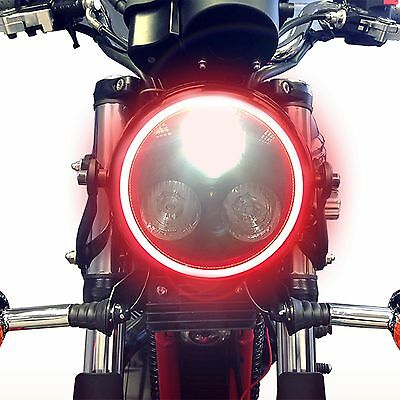 Universal Black Metal Motorcycle LED Headlight Integrated Red LED Angel Eye Ring
