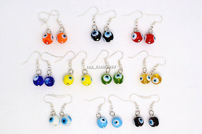 Wholesale Lots Evil Eye Murano Glass Bead Silver Plated Charm Earrings Brand New
