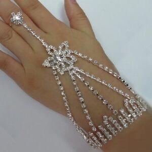 Wedding-Bride-Rhinestone-Arm-with-Ring-Bollywood-Slaves-Bracelet-Star