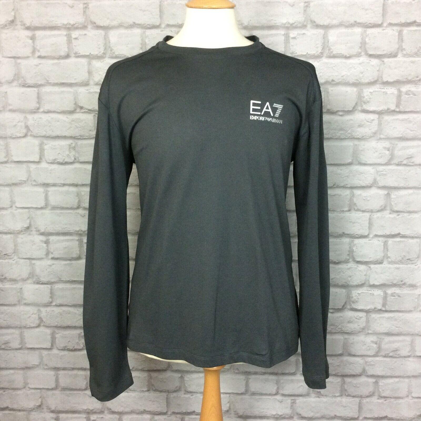 EA7 EMPORIO ARMANI DA UOMO UK XXL Grigio Manica Lunga Poly Maglietta T-shirt tee tshirt