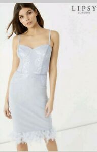 Lipsy-feather-Silver-Blue-dress-size-uk-16-nwt-wedding-party-special-occation