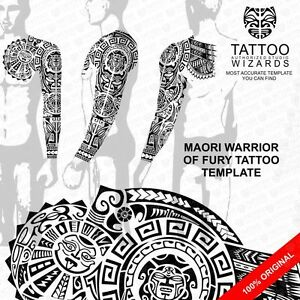 maori polynesian warrior of fury tattoo stencil template ebay