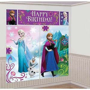 DISNEY-FROZEN-GIRLS-BIRTHDAY-PARTY-SUPPLIES-SCENE-SETTER-WALL-POSTER-DECORATIONS