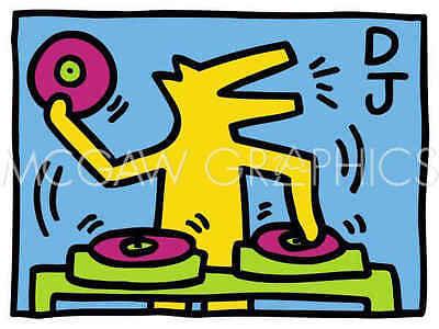 Record Music Pop Poster 11x14 KH07 by Keith Haring Art Print Dance Dog DJ D.J