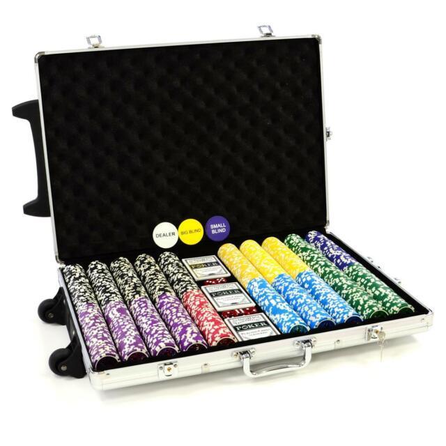 Pokerkoffer 1000 Laser Pokerchips Jetons im Trolley Pokerset mit Zubehör