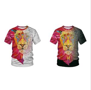 Fashion lion print T-shirt casual men short-sleeved round neck women/'s clothing