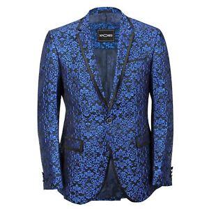 Adroit Mens Blue Paisley Print Italian Designer Style Suit Jacket Slim Fitted Blazer-afficher Le Titre D'origine
