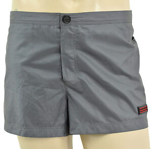 $225 BURBERRY London Gris Noir Shorts de bain Trunks L Nouvelle collection
