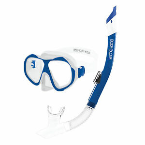 Body-Glove-Enlighten-II-Large-XL-Diving-Snorkel-and-Goggles-Mask-Set-Clear-Blue