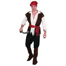 Men's Pirate Costume With Brown Waistcoat - Man + Trousers, Belt, Headpiece &
