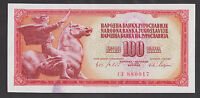 YUGOSLAVIA  100 Dinara 1965 UNC  P80a Small-Baroque Style Serial Number.  stain