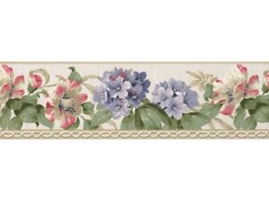 Wallpaper-Border-White-Lavender-Pink-Red-Rhododendron-Floral-on-With-Molding
